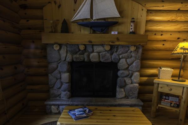 Stonegate Cabin Stone Fireplace