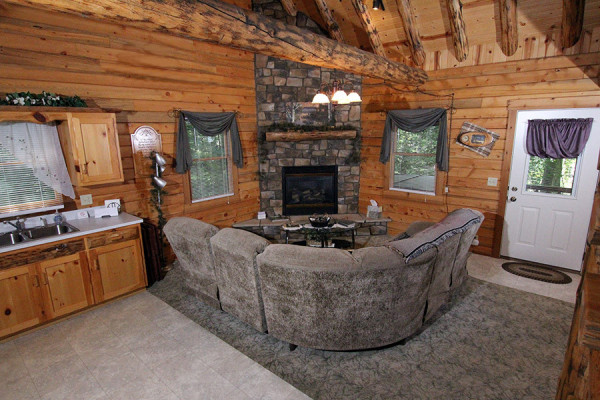 ... Cozy Pine Cabin Living Room
