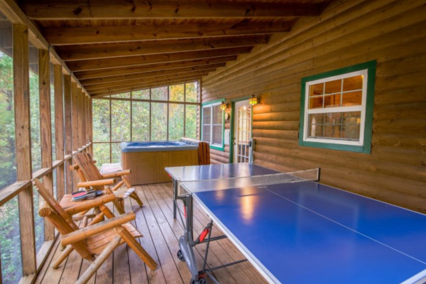 Bear's Den  Porch with Ping Pong Table