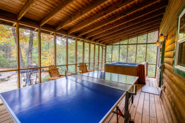 Bear's Den  Porch with Ping Pong Table and Hot Tub