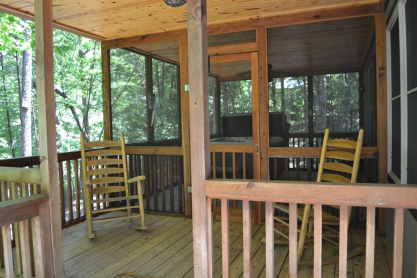 Porch with Chairs and Hot Tub