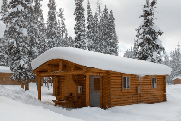 Cabin with fresh snow