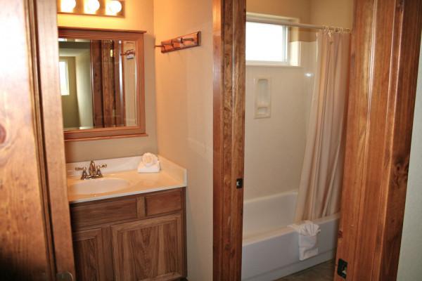 Bathroom with combo shower bath