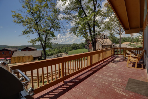 Deck with outdoor seating and Lake Views