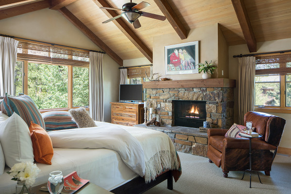 Master bedroom and fireplace