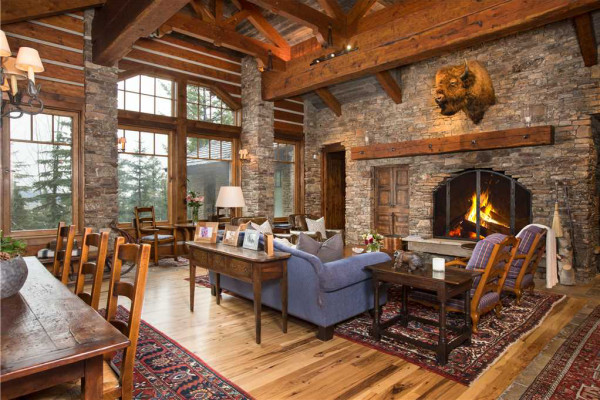 Great room with fireplace and vaulted ceilings