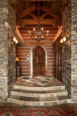 Stone and timber entryway