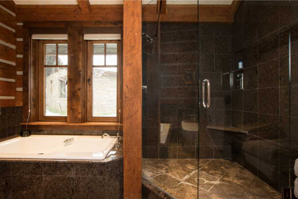 Walk-in shower and separate tub