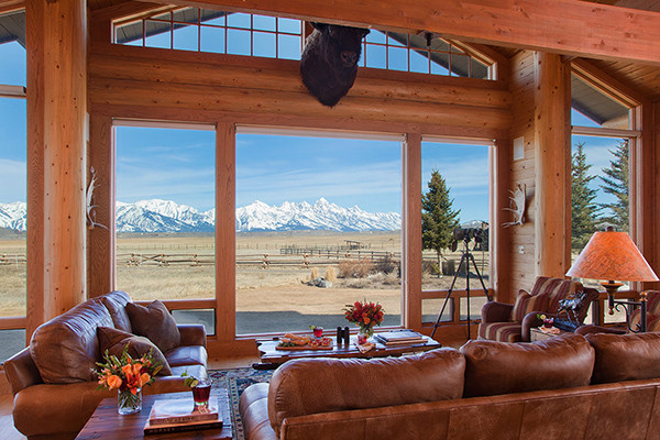 Living Room Views - Elk Refuge - Jackson Hole Luxury Vacation Cabin