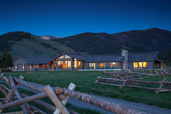 Night Exterior - Elk Refuge - Jackson Hole Luxury Vacation Cabin