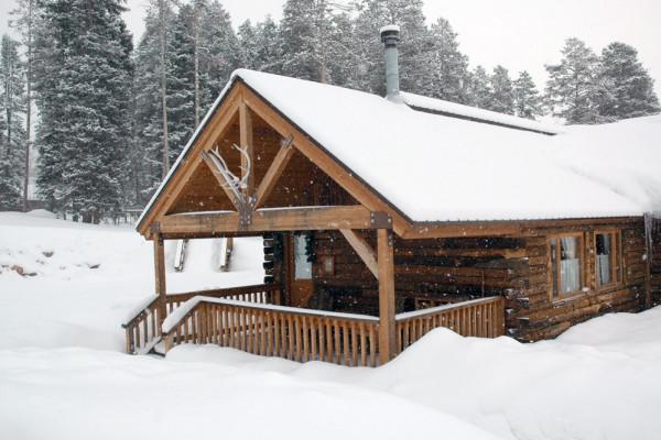 Winter Cabin View