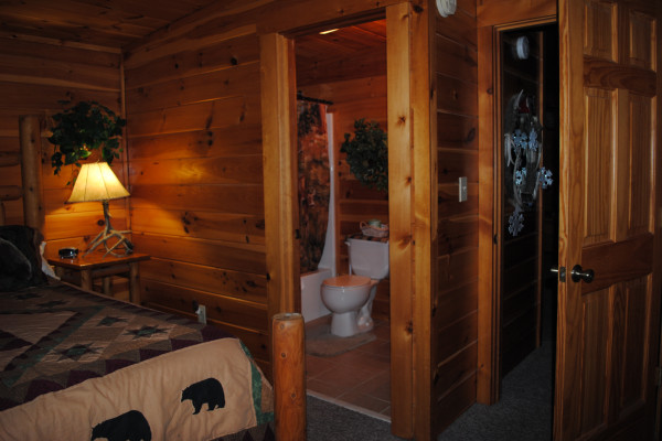 View of Bed & Bathroom