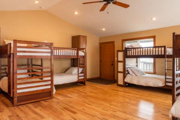 Bunkhouse Bedroom - 6 Bunks sleep up to 12 people.