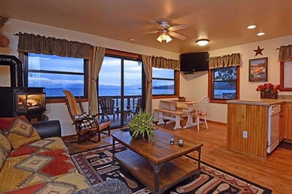 one bedroom cabin. cabin: interior; living area one bedroom cabin