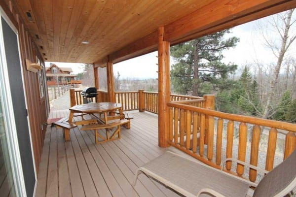 Covered riverside deck