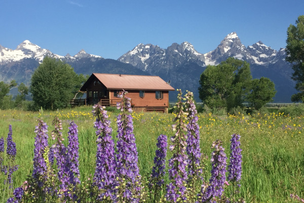 Exterior of West Cabin with Grand Teton Views