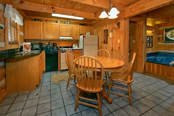 Cabin: Front Porch With Swing; Full Size Kitchen And Dining Area