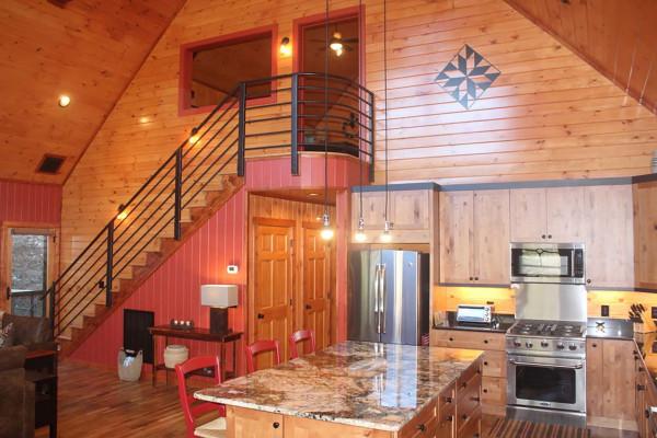 Kitchen and Stairway to Loft