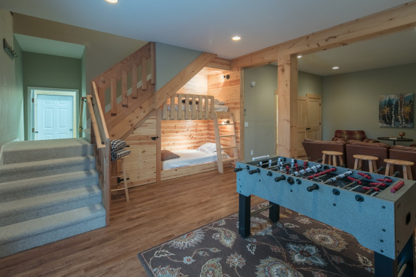 Basement with Built In Bunks