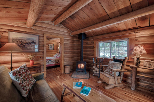 The Cal Cabin - Sitting Room with wood stove.
