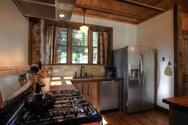 Kitchen with Forest Views