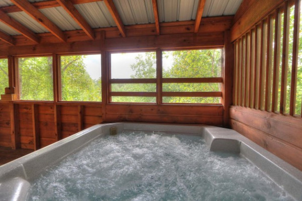 Hot Tub in enclosed deck