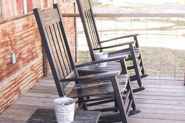 Front Deck with Rocking Chairs