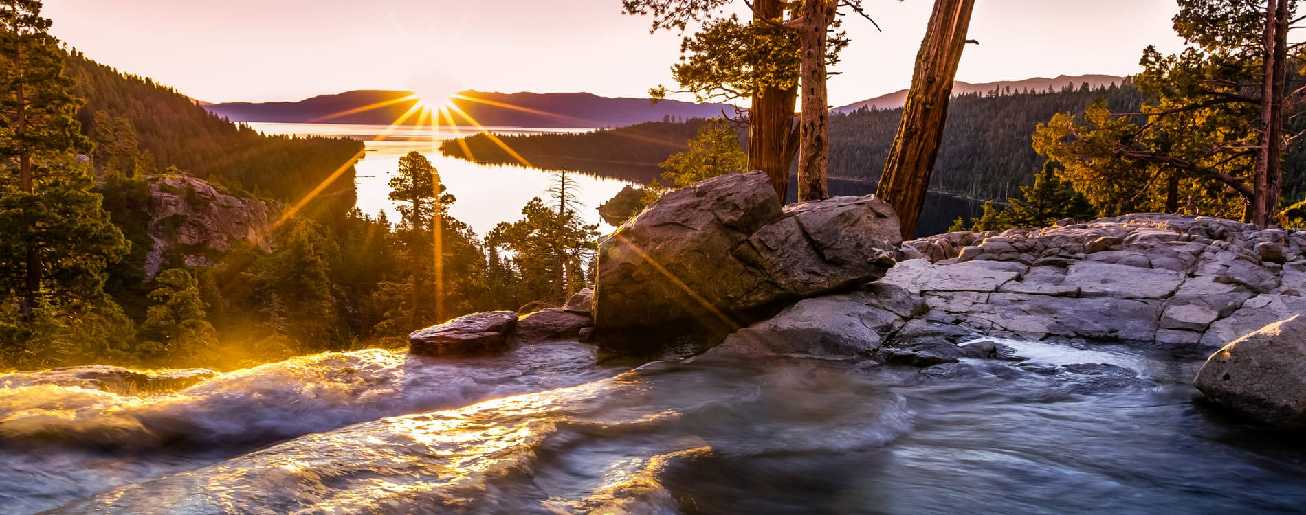 Sunrise at Eagle Falls overlooking Emerald Bay Lake Tahoe California