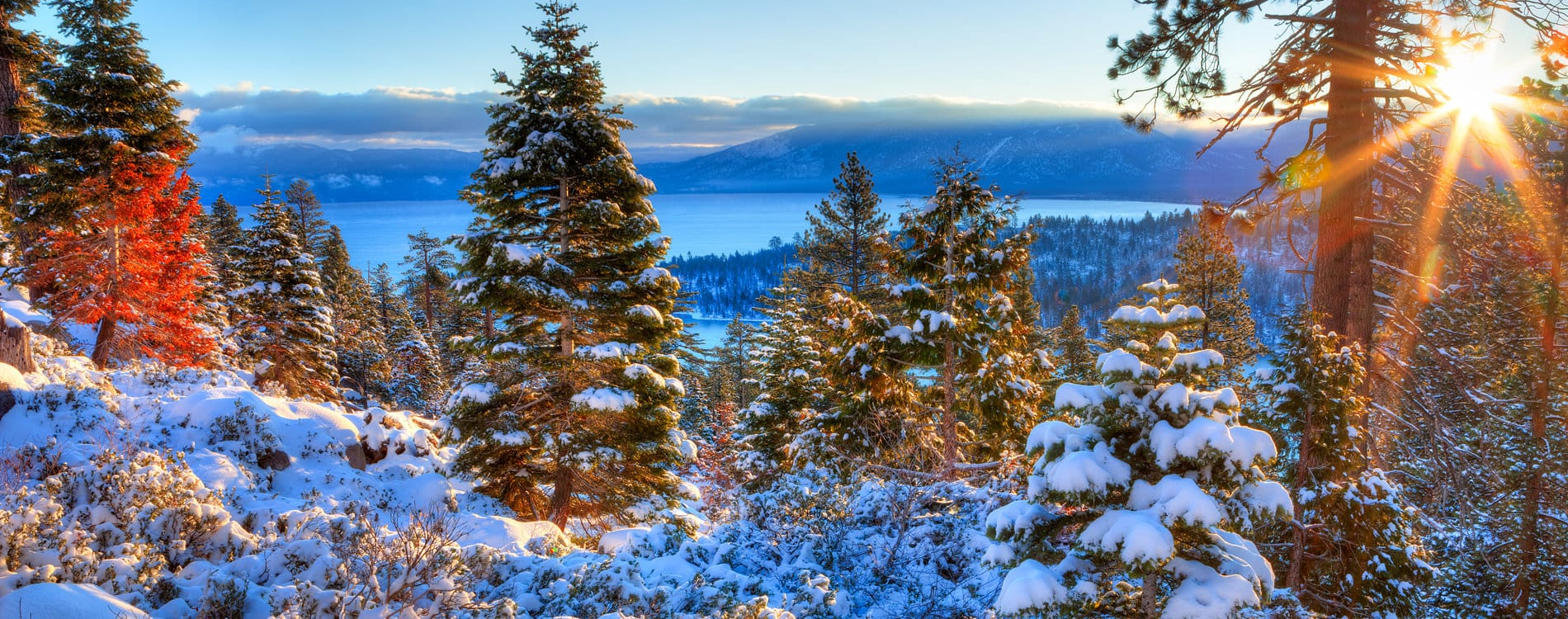 Winter sunrise over Lake Tahoe California