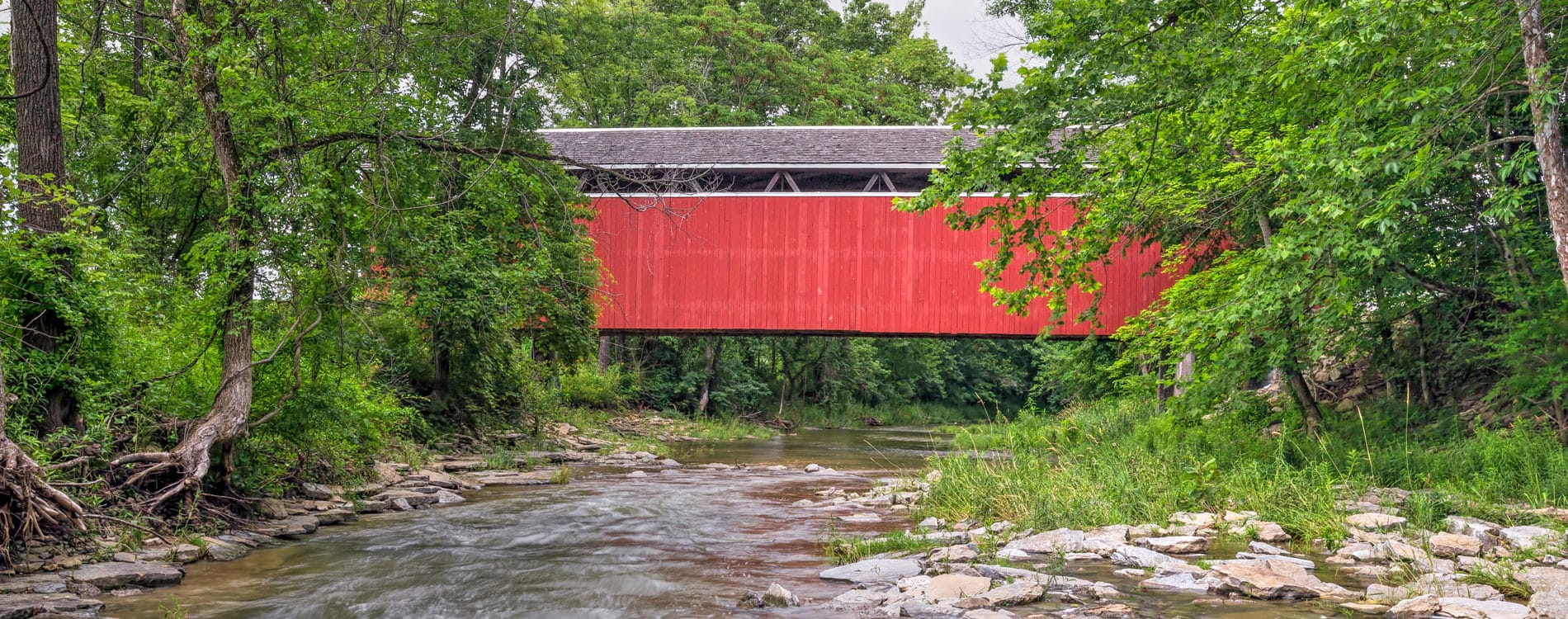 Enochsburg Covered Bridge over Salt Creek in Indiana