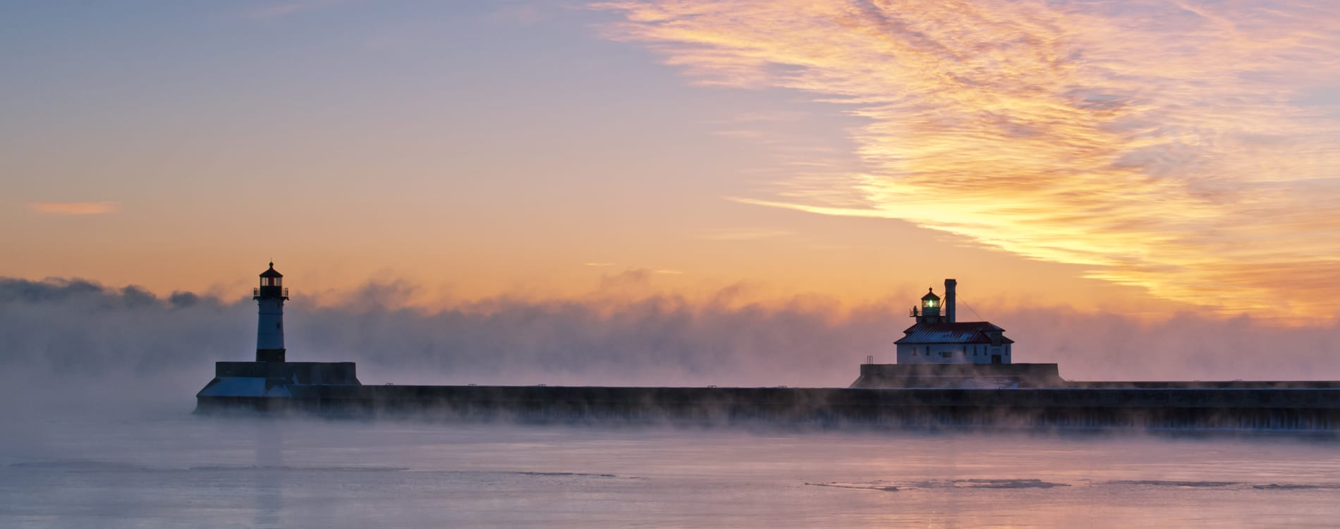 Duluth, MN - Foggy Sunrise on Lake Superior