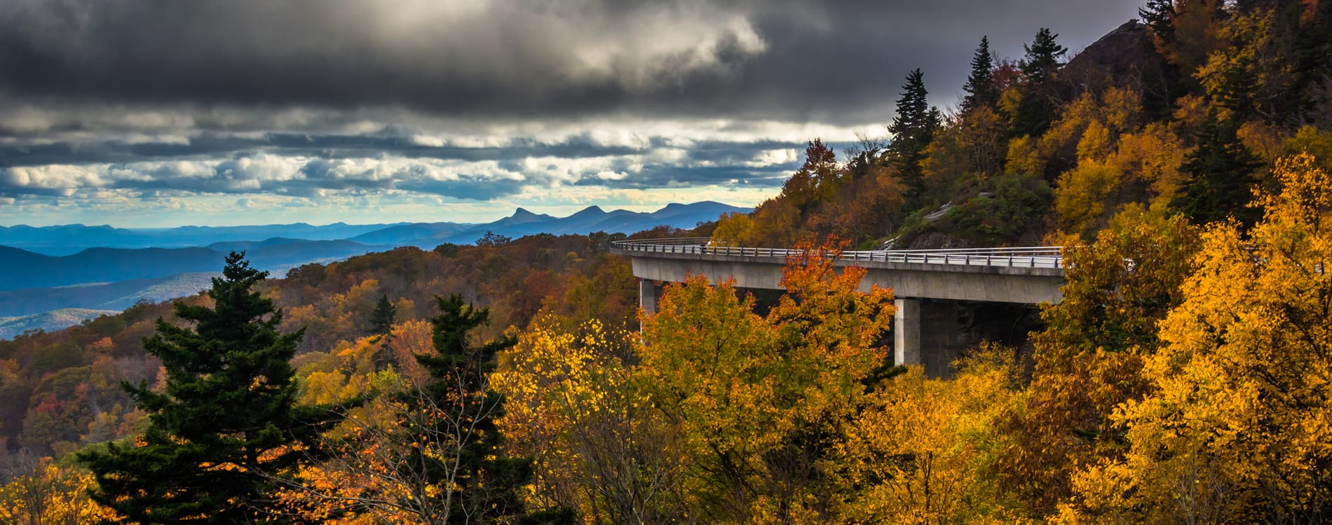 Asheville, NC - Autumn View of Linn Cove Viaduct Along Blue Ridge Parkway