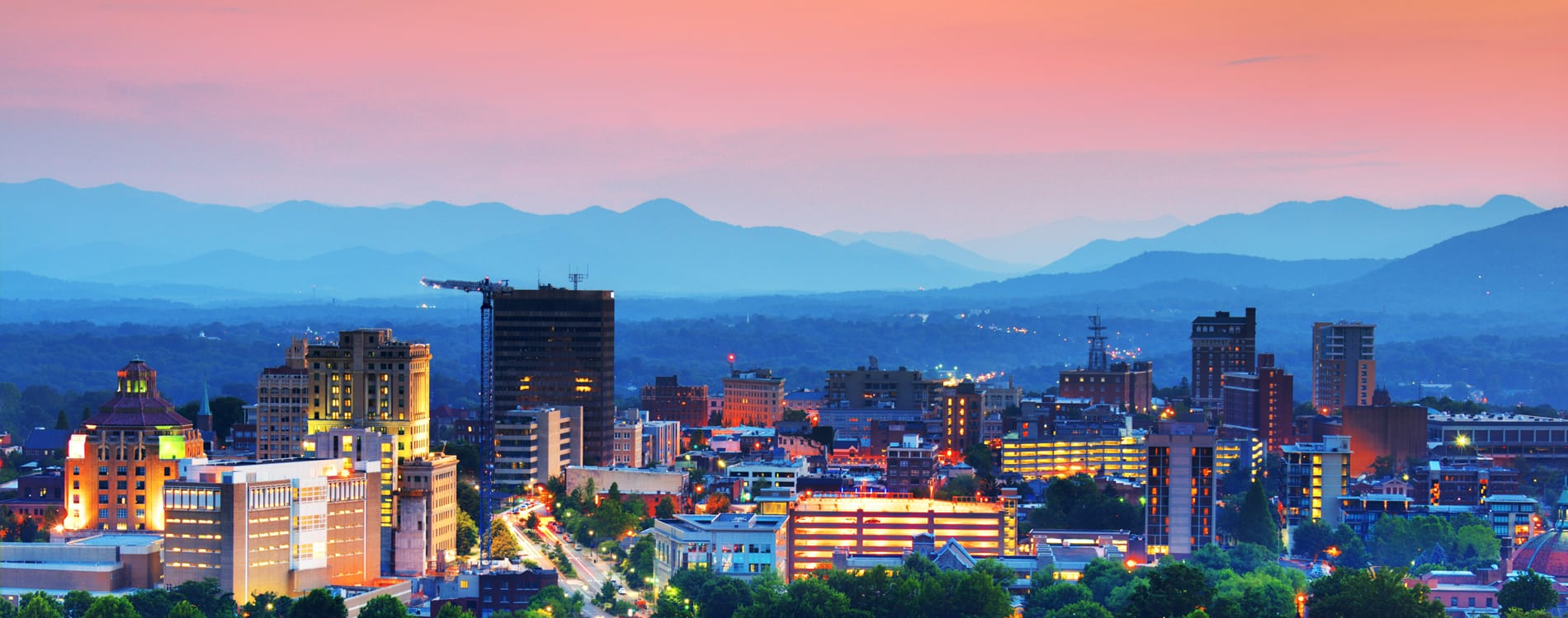 Asheville, NC - Skyline of Asheville North Carolina