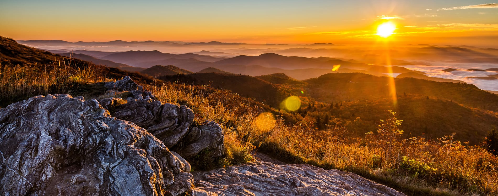 Asheville, NC - Sunrise Over Blue Ridge Mountains from Black Balsam Bald