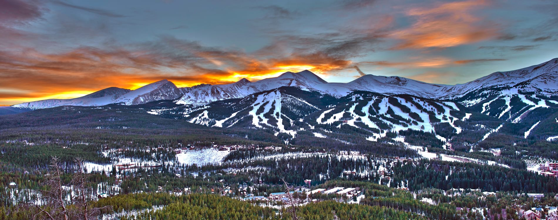 Breckenridge, CO - Sunset over Breckenridge Ski Resort