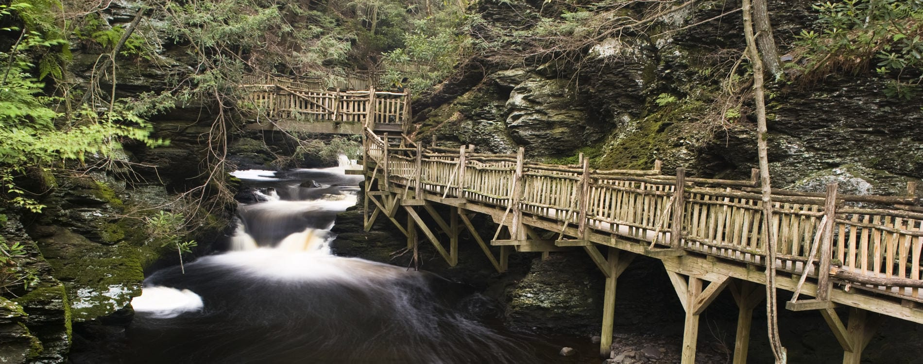 Bushkill Falls Footbridge in the Poconos Pennsylvania