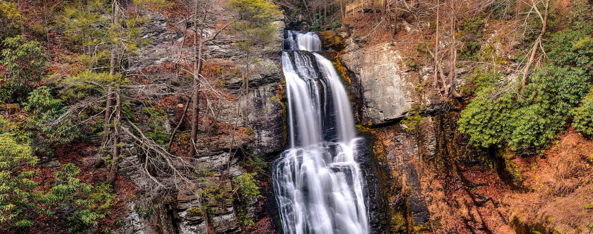 Fall at Bushkill Waterfall in the Poconos PA