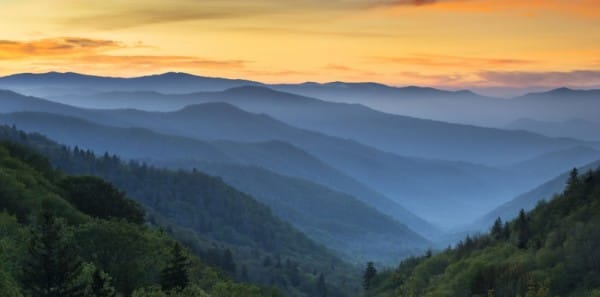Sunrise over the Great Smoky Mountains from Gatlinburg TN