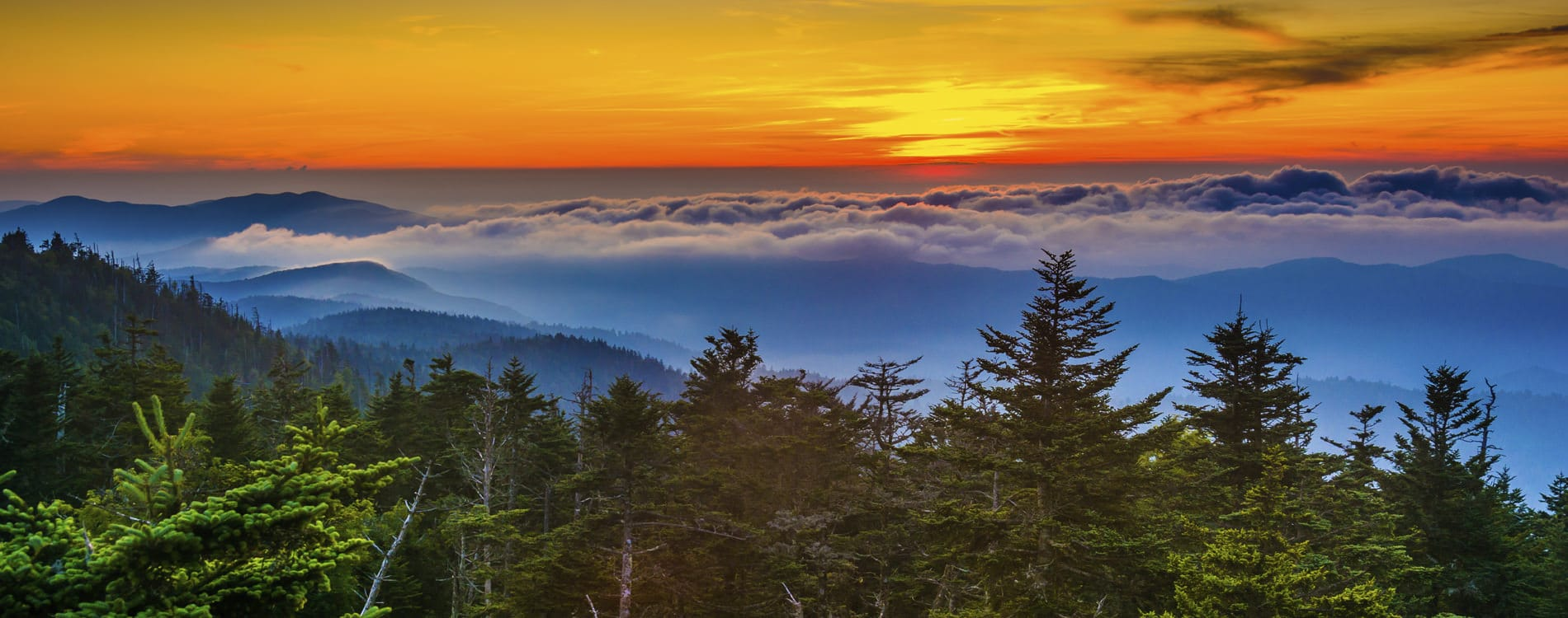 Sunset at Clingmans Dome Observation Point in Blue Ridge Mountains Gatlinburg