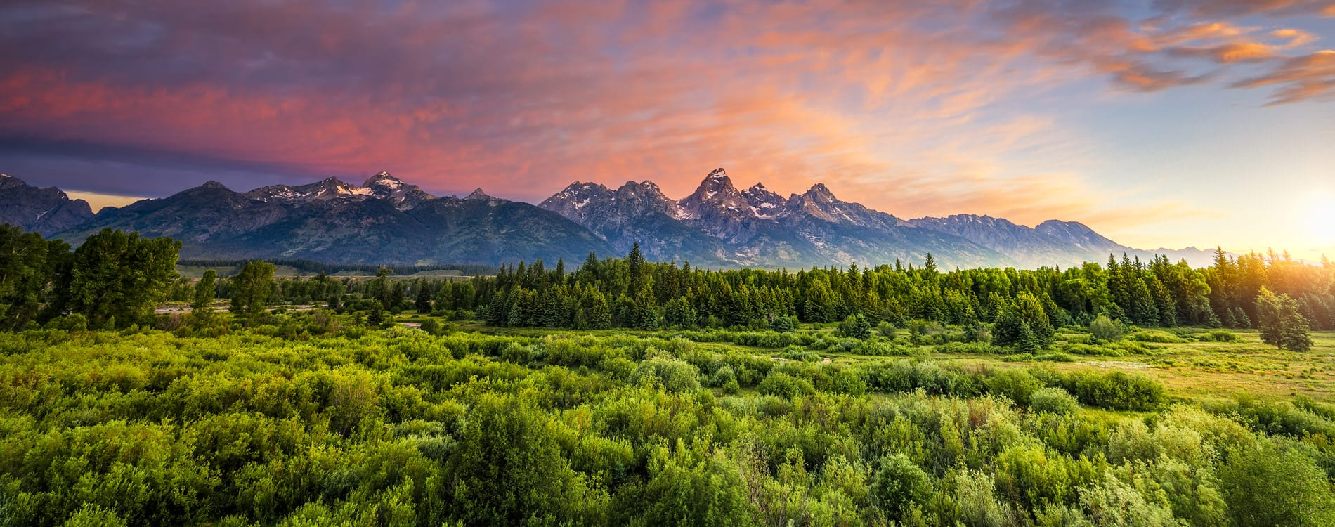 Sunrise at Blacktail Ponds Overlook toward Grand Teton Range