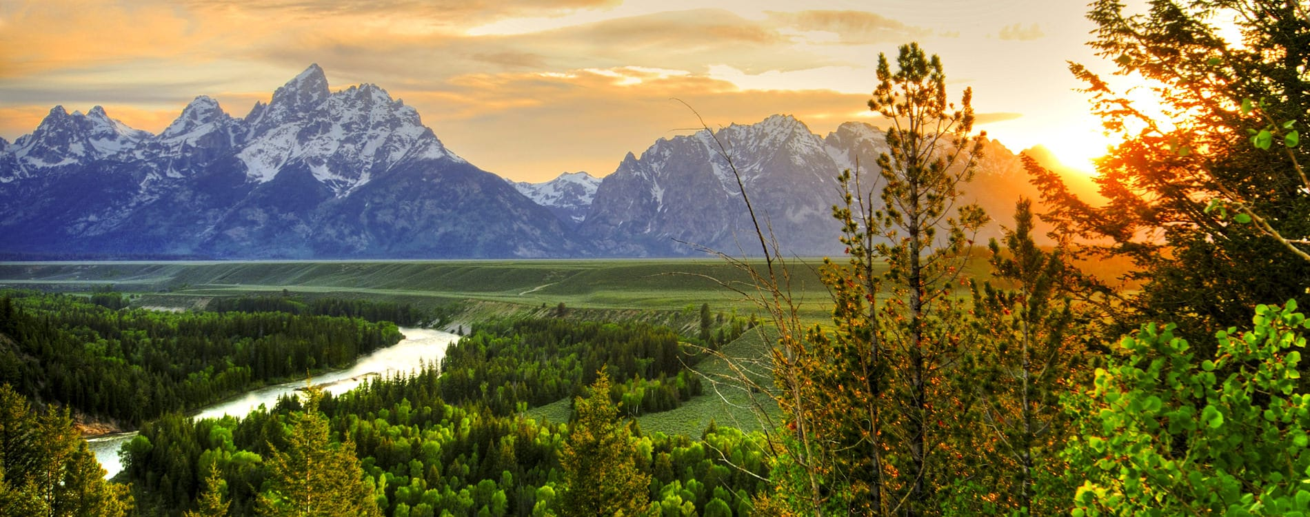 Sunset over Grand Tetons from Snake River Overlook
