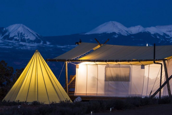 Night view Tepee and Tent